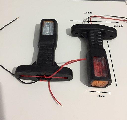 2 x lampa gabarit LED rosu/alb/galben 0338