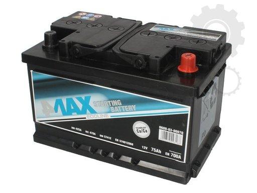 Acumulator auto 4-max 75ah 700A plus pe dreapta