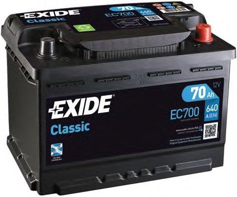BATERIE EXIDE CLASSIC 12V 70AH 640A 278X175X190 +DR (EC700)