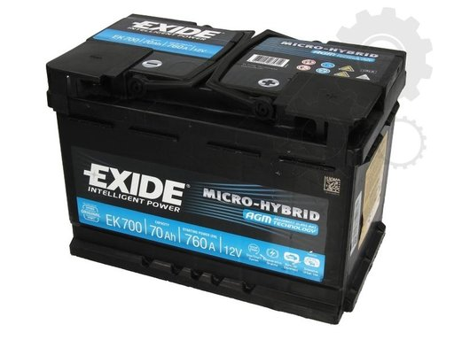 Baterie exide micro hybrid agm 70ah 760a