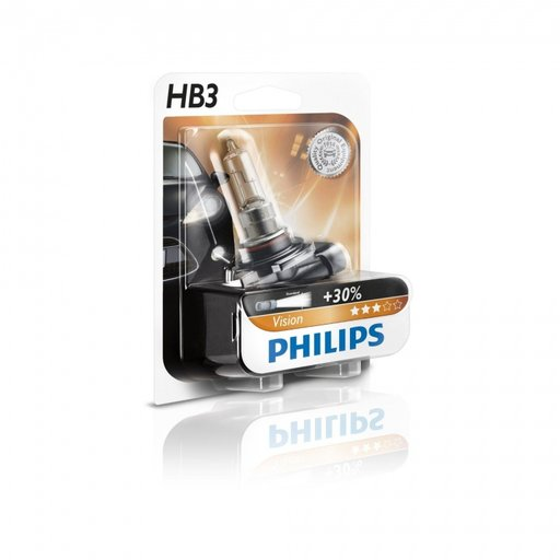 Bec auto cu halogen pentru far Philips Vision +30% lumina HB3 12V 60W P20d , set