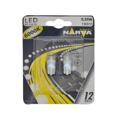 BEC CU LED T10 6000K 12V 0.5W W2.1X9.5D(blister)NARVA