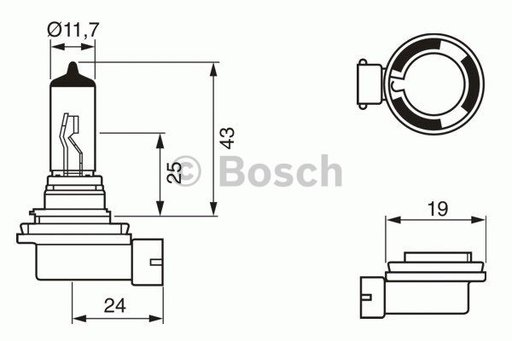 BEC H11; 12V 55W H11 PURE LIGHT - BOSCH - 1 987 30