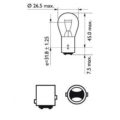 Bec, lampa frana / lampa spate LAND ROVER RANGE ROVER Mk III (LM), SAAB 9-3 Cabriolet (YS3F), FORD FOCUS II (DA_) - PHILIPS 12495CP