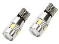 Bec pozitie T10 canbus 6SMD + lupa in varf 5630 12V lumina galbena