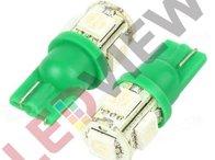 Bec T10 (W5W) cu 5 led SMD 5050 - Verde