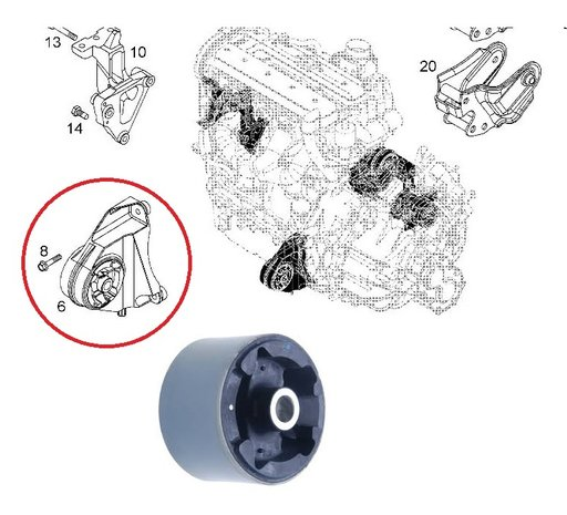 Bucsa tampon frontal motor (antibalans) Opel Antara , Chevrolet Captiva --2006-2014--
