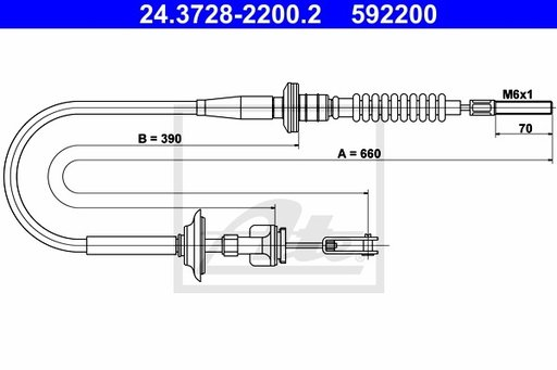 Cablu Ambreiaj - ATE - 24.3728-2200.2