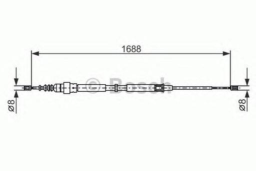 Cablu frana de mana BOSCH 1987477696 Skoda Octavia Combi (1U5) Bora (1J2) Bora Combi (1J6) A3 (8L1) Octavia (1U2) Toledo 2 (1M2) Golf 4 Variant (1J5) New Beetle (9C1, 1C1) Golf 4 (1J1)