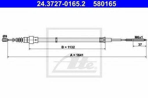 Cablu frana de mana / parcare SEAT IBIZA III (6K1) (1999 - 2002) ATE 24.3727-0165.2 - produs NOU