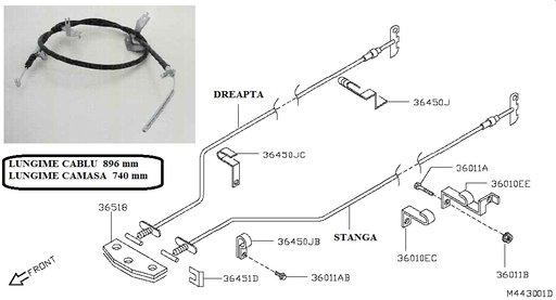 Cablu frana de mana pentru Nissan Cabstar