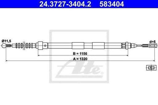 Cablu, frana de parcare SEAT ALHAMBRA (7V8, 7V9) ATE 24.3727-3404.2