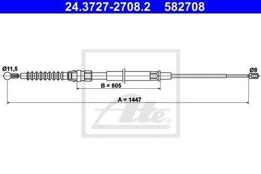 Cablu, frana de parcare SEAT ALTEA (5P1) ATE 24.37