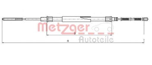 Cablu, frana de parcare SEAT CORDOBA limuzina (6K1, 6K2), SEAT IBIZA Mk II (6K1) - METZGER 19.102E