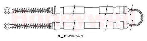 Cablu, frana de parcare SEAT RONDA (022A), SEAT MALAGA (023A), SEAT IBIZA  (021A) - BENDIX 432044B