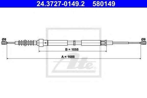Cablu, frana de parcare SEAT TOLEDO II (1M2) ATE 24.3727-0149.2