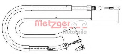 Cablu, frana de parcare VW LT II caroserie (2DA, 2DD, 2DH) (1996 - 2006) METZGER 10.9873 - piesa NOUA