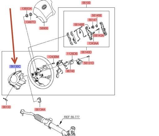 Capac inferior volan Hyundai Tucson ( an 2004-2009 ) / Nou / Original / OE 56131-2E500LM
