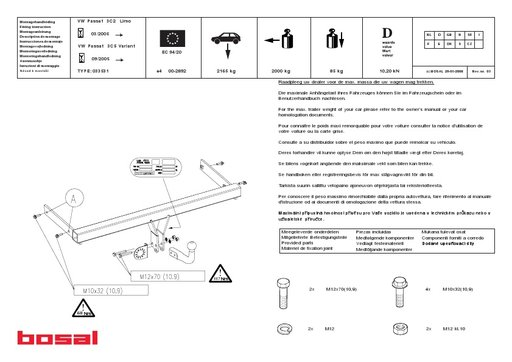 Carlig remorcare, marca BOSAL, pentru VW PASSAT 2005 -