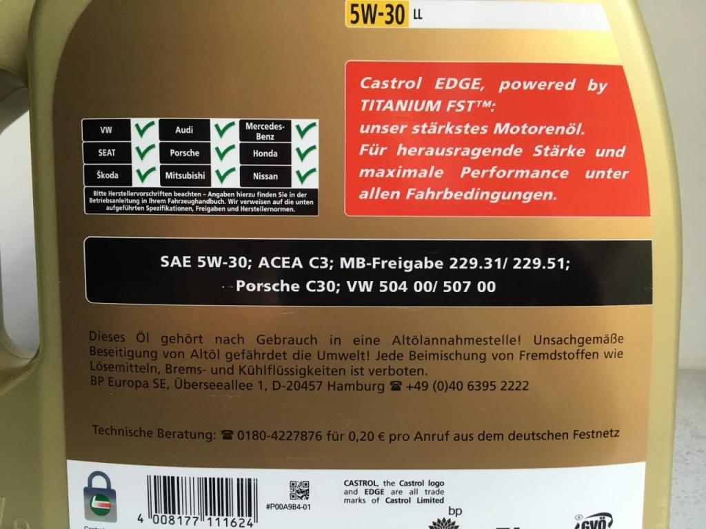 Castrol Edge 5w30 / Vw 504 00 / 507 00 * Import Germania *