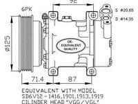 Compresor climatizare RENAULT CLIO II BB0/1/2 CB0/1/2 NRF 32259