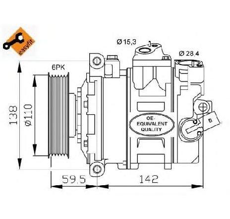 Compresor, climatizare VW NEW BEETLE CABRIOLET ( 1Y7 ) 09/2002 - 10/2010 - producator NRF 32146 - 304957 - Piesa Noua