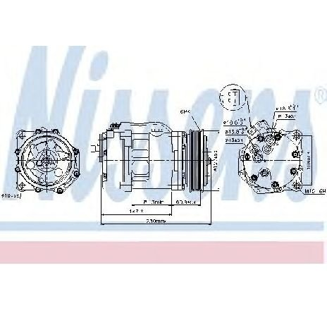 Compresor, climatizare VW TRANSPORTER IV platou / sasiu (70XD) VW TRANSPORTER T4 platou / sasiu (70XD) 2.5 08/1996 - 04/2003 - producator NISSENS cod produs 89044
