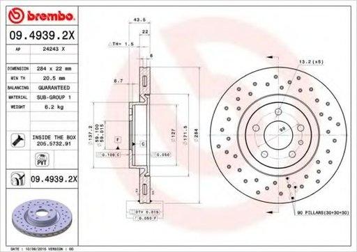 Disc frana ALFA ROMEO 147 (937) (2000 - 2010) BREMBO 09.4939.2X - produs NOU