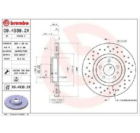 Disc frana ALFA ROMEO 156 SPORTWAGON ( 932 ) 01/2000 - 05/2006 - piesa NOUA - producator BREMBO 09.4939.2X - 304635