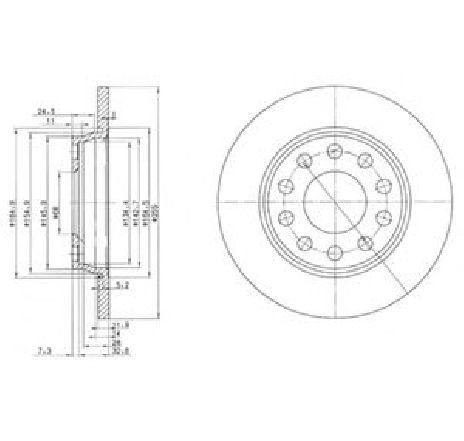 Disc frana AUDI A4 AVANT ( 8E5, B6 ) 04/2001 - 12/2004 - producator DELPHI BG3674 - 304797 - Piesa Noua