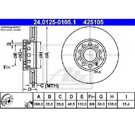 Disc frana AUDI A4 Avant ( 8ED, B7 ) 11/2004 - 06/2008 - producator ATE 24.0125-0105.1 - 305377 - Piesa Noua