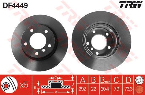 Disc frana BMW Seria 1 E81 E87 TRW cod DF4449 --- CEL MAI BUN PRET---