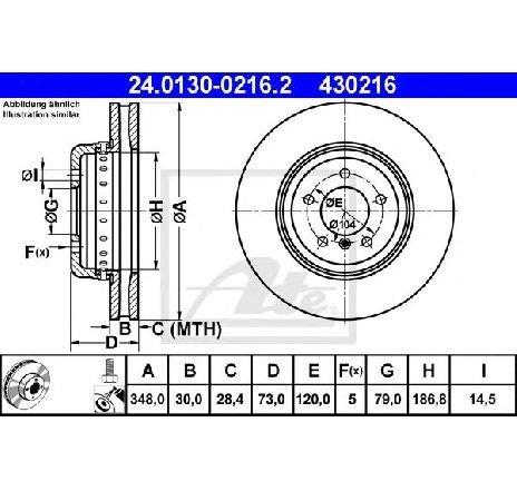 Disc frana BMW Z4 ( E89 ) 05/2009 - 2018 - producator ATE 24.0130-0216.2 - 308033 - Piesa Noua