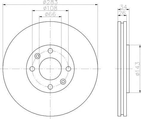 Disc frana CITROEN BERLINGO 08-/C5/XSARA/307/308 - Cod OEM: QUARO: QD2012|QD2012 - Cod intern: W02605862 + Cadou - spray pentru curatat frane marca TEXTAR, flacon 500ml!