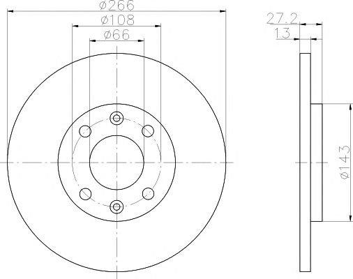 Disc frana CITROEN BERLINGO/PARTNER 96-/C2/C3 - Cod OEM: QUARO: QD2180|QD2180 - Cod intern: W02606437 + Cadou - spray pentru curatat frane marca TEXTAR, flacon 500ml!