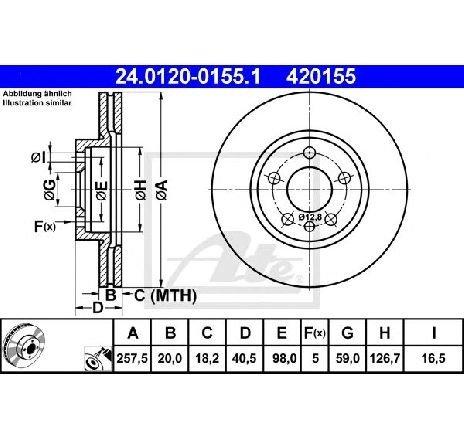 Disc frana CITROEN JUMPY CAROSERIE ( BS, BT, BY, BZ ) 06/1994 - 2019 - piesa NOUA - producator ATE 24.0120-0155.1 - 304683