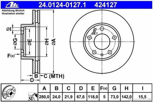 Disc frana fata Fiat Ducato 120 Multijet 2,3D 2006-