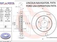 Disc frana fata, LINCOLN NAVIGATOR I, FORD USA EXPEDITION 5.4 V8 4*4, model 1997-2002