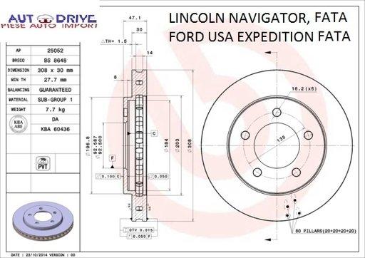 Disc frana fata, LINCOLN NAVIGATOR I, FORD USA EXP