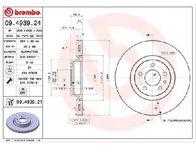 Disc frana FIAT DOBLO caroserie inchisa/combi ( 263 ) 02/2010 - 2018 - producator BREMBO 09.4939.24 - 308618 - Piesa Noua