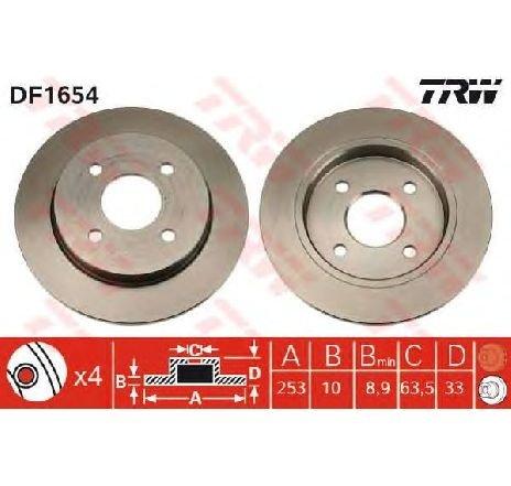 Disc frana FORD FIESTA V ( JH, JD ) 11/2001 - 03/2010 - producator TRW DF1654 - 304802 - Piesa Noua