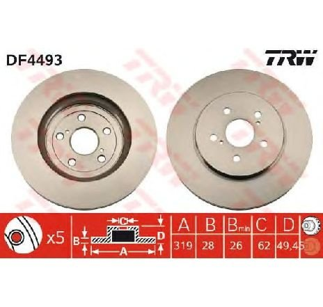 Disc frana LEXUS RX ( MHU3, GSU3, MCU3 ) 02/2003 - 12/2008 - piesa NOUA - producator TRW DF4493 - 305001