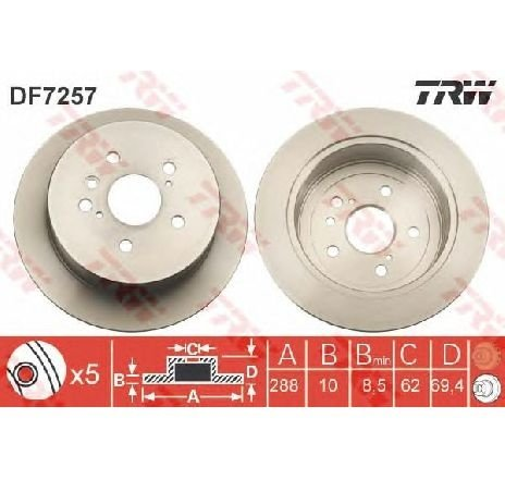 Disc frana LEXUS RX ( MHU3, GSU3, MCU3 ) 02/2003 - 12/2008 - piesa NOUA - producator TRW DF7257 - 305001