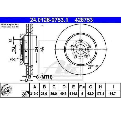 Disc frana LEXUS RX ( MHU3, GSU3, MCU3 ) 02/2003 - 12/2008 - piesa NOUA - producator ATE 24.0128-0753.1 - 305001
