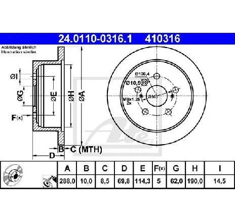 Disc frana LEXUS RX ( MHU3, GSU3, MCU3 ) 02/2003 - 12/2008 - piesa NOUA - producator ATE 24.0110-0316.1 - 305001