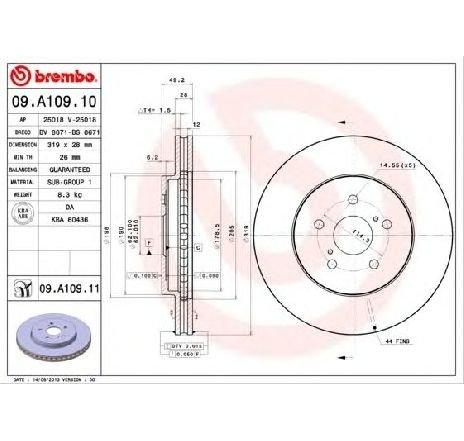 Disc frana LEXUS RX ( MHU3, GSU3, MCU3 ) 02/2003 - 12/2008 - piesa NOUA - producator BREMBO 09.A109.10 - 305001