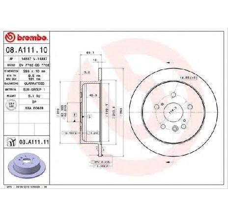 Disc frana LEXUS RX ( MHU3, GSU3, MCU3 ) 02/2003 - 12/2008 - piesa NOUA - producator BREMBO 08.A111.10 - 305001