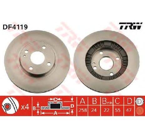 Disc frana MAZDA 323 C V ( BA ) 08/1994 - 09/2000 - producator TRW DF4119 - 300311 - Piesa Noua