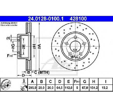 Disc frana MERCEDES C-CLASS CUPE ( C204 ) 06/2011 - 2019 - piesa NOUA - producator ATE 24.0128-0100.1 - 309624