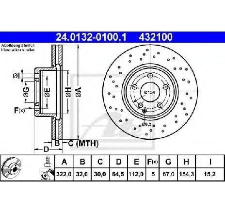 Disc frana MERCEDES E-CLASS CABRIOLET ( A207 ) 01/2010 - 2019 - piesa NOUA - producator ATE 24.0132-0100.1 - 308524